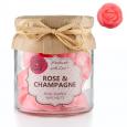 Vrtnica in šampanjec, dišeči mini voski v kozarcu