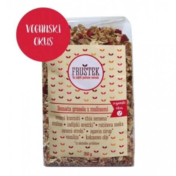 Fruštek, domača granola z malinami (veganski okus)